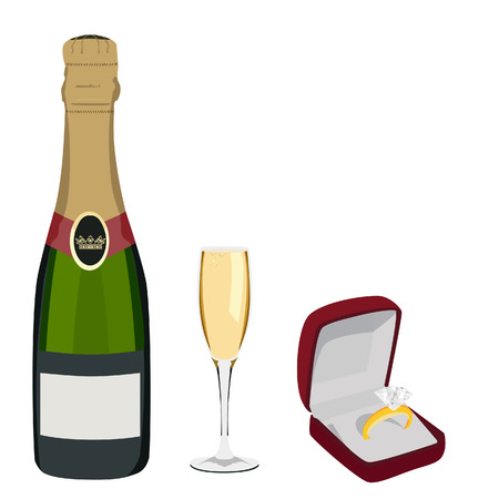 golden ring: Golden ring with diamond in jewelry box and champagne bottle, champagne glass vector set. Anniversary