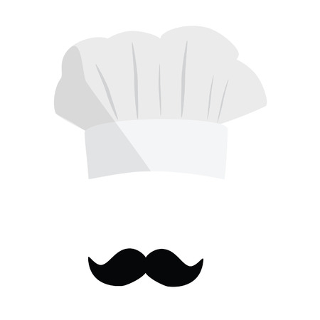 White cook hat, chef hat with black mustache. Cook hat vector icon. Restaurant chef.