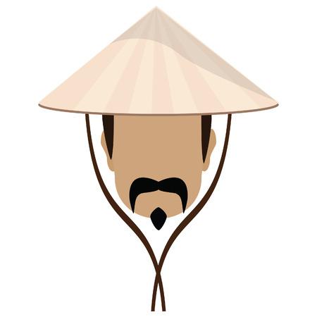 hombre con sombrero: Hombre asiático en cónica, sombrero de paja y un bigote ilustración vectorial. Sombrero chino con cuerdas Vectores