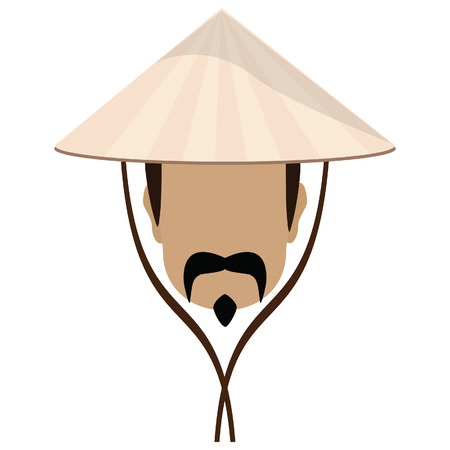 Asian man in conical, straw hat and mustache vector illustration. Chinese hat with strings Vettoriali