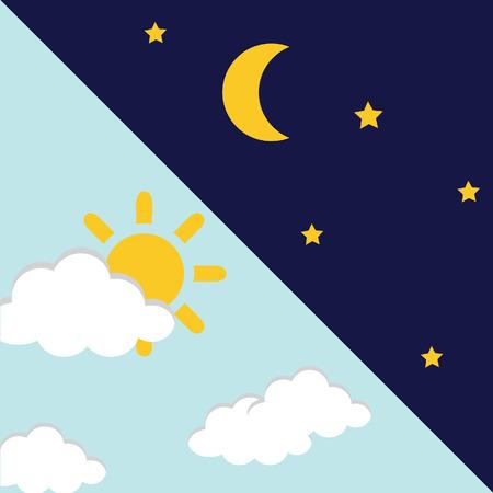 dia y la noche: Ilustración vectorial de día y de noche. Concepto de la noche del día, el sol y la luna, día Icono noche Vectores