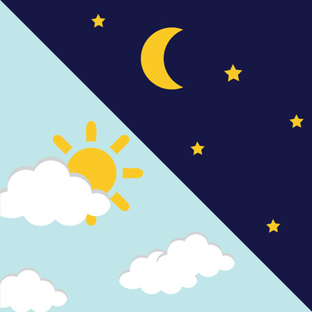 night time: Vector illustration of day and night. Day night concept, sun and moon, day night icon
