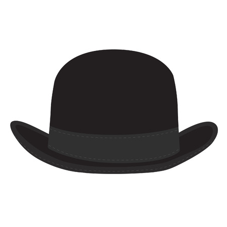 black hat: Black derby hat vector isolated. Bowler hat. Black fashion gentleman hat