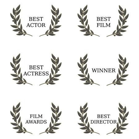 feature films: Film awards  best actor, best actress, film awards, best director, best film, winner. Film festival, movie awards, olive brunch