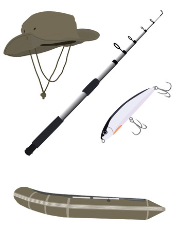 fishing pole: Fishing pole, hat, inflatable boat and bait vector isolated , fishing equipment
