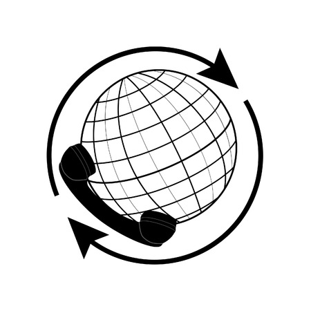 world receiver: Outline drawing world globe with arrow around and phone receiver vector isolated icon. Earth globe silhouette