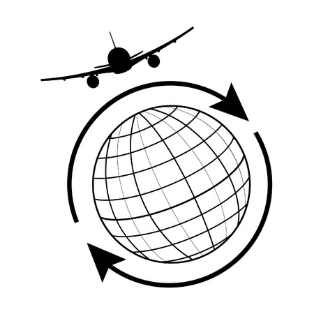 Vector illustration globe airplane and arrow around the world. Globe travel, earth icon, globe icon Illustration