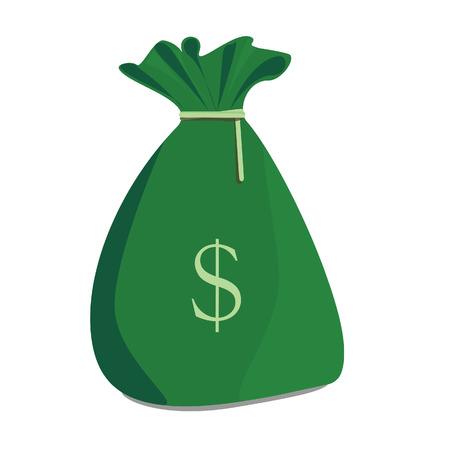 Ilustración vectorial de la bolsa de dinero verde con el símbolo del dólar. Bolso del dinero icono