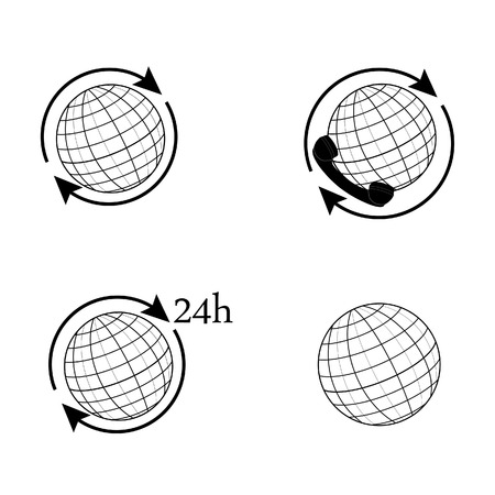 world receiver: Outline drawings globe vector set. World globe with arrow around. Earth globe 24h. Globe icon international delivery Illustration