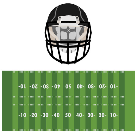 american football field: American football field and helmet vector illustration.