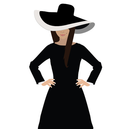 black hat: Brunette woman in black little dress and elegant floppy hat vector illustration Illustration