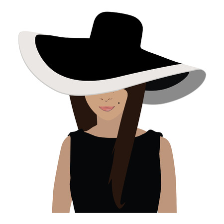 Brunette woman in black little dress and elegant floppy hat vector illustration Illustration