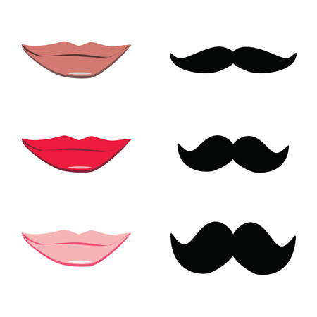 lips kiss: Ladies and gentleman vector illustration lips kiss and black mustache. Red, pink lips silhouette