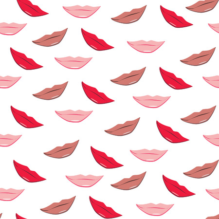 mouth kiss mouth: Lips vector seamless pattern. Red, pink and beige lips kiss. Lips background, print