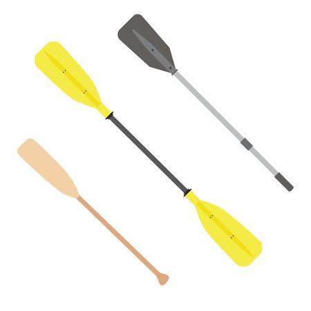 Two rowing oars vector isolated. Wooden oar. Grey and yellow,  plastic oar. Boat oar Vectores