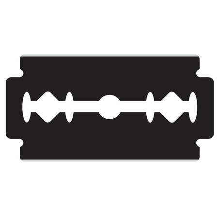 Razor blade vector illustration. Black silhouette razor blade icon