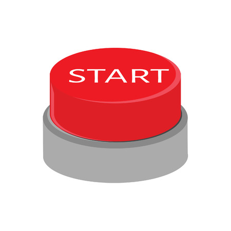start button: Red button with text start vector illustration. Start button. 3d red button Illustration