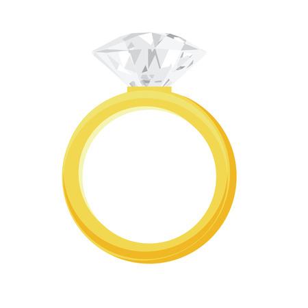 Golden ring with big, shiny diamond vector illustration. Engagement ring, wedding ring