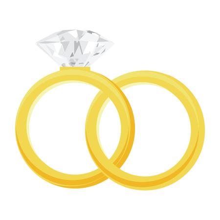 bodas de plata: Anillo de oro y un anillo con una gran y brillante ilustración vectorial diamante. Anillos de compromiso, anillo de bodas