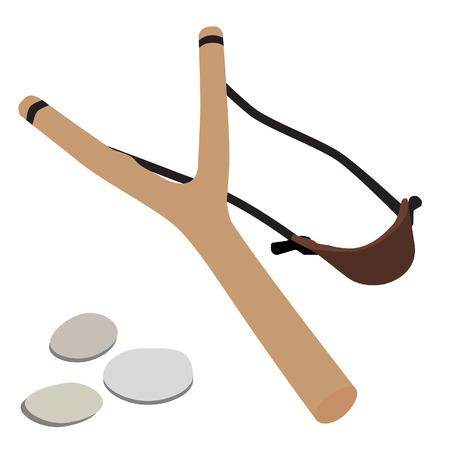 primitive tools: Wooden slingshot and pebbles stones vector illustration. Kid slingshot, slingshot cartoon icon Illustration