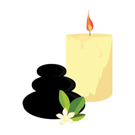 stones with flower: Black spa stones, candle and white frangipani flower. Zen stones vector illustration