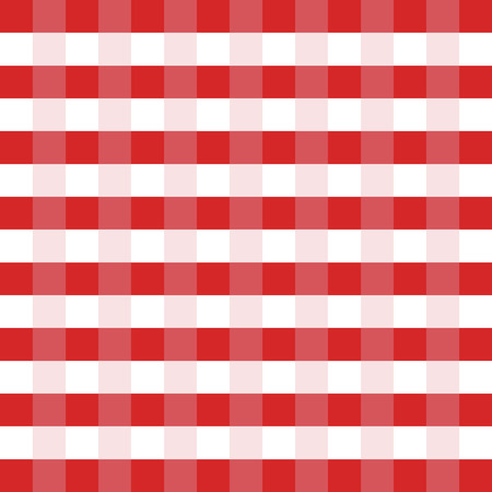 picnic table: Checkered tablecloth red and white vector illustration. Picnic table cloth