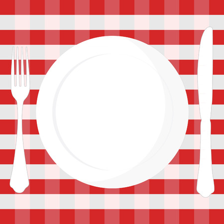 Red And White Checkered Tablecloth With Fork, Knife And Plate Vector  Illustration. Picnic Table