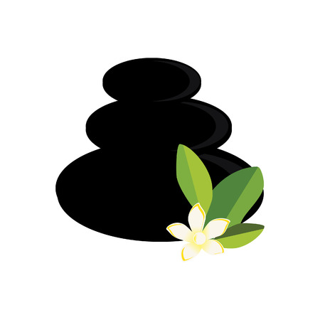 oriental medicine: Three, black spa stones and white, yellow frangipani flower. Zen stones vector illustration Illustration