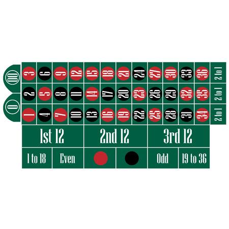 ruleta: ilustración vectorial mesa de ruleta americana. juego de juego.