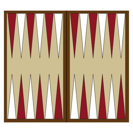 Wooden backgammon board game vector illustration. Backgammon table