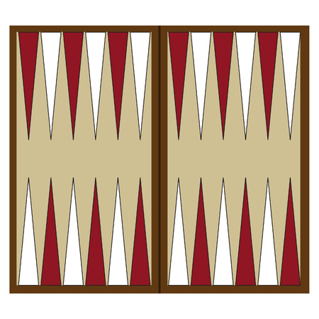 Wooden backgammon board game vector illustration. Backgammon table