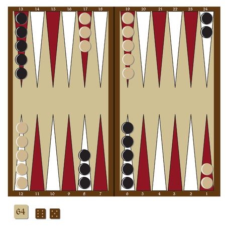 doubling: Backgammon wooden board, two dices and doubling cube, and chips for game vector illustration. Board game Illustration