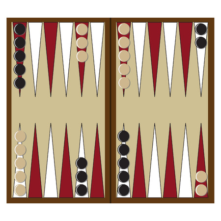doubling: Backgammon wooden board and chips for game vector illustration. Board game