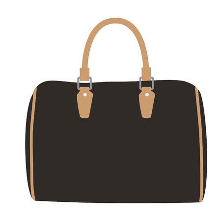 designer bag: Woman fashion bag, handbag model vector isolated icon. Female bag
