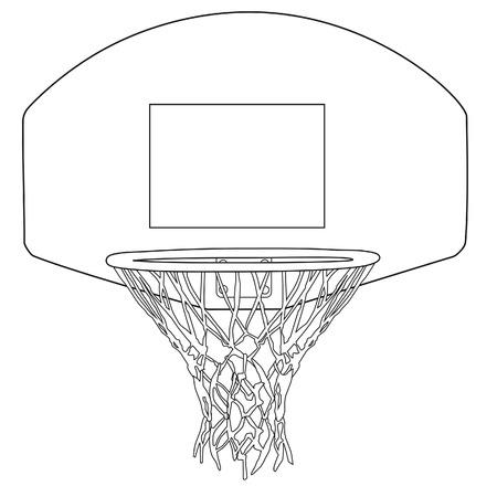 basketball net: Baloncesto esquema aro ilustraci�n dibujos vectoriales. Canasta de baloncesto, canasta de baloncesto