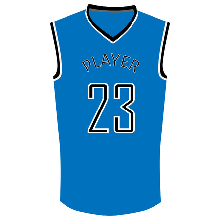 23: Blue basketball t-shirt with number twenty three. Basketball jersey with number 23 vector illustration. Basketball uniform