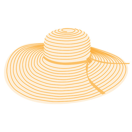 Beautiful, orange beach hat. Summer sun hat vector isolated. Floppy hat Çizim