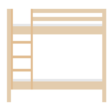 wooden stairs: Wooden bunk bed vector illustration. Bedroom furniture. Empty bed. Children bunk bed with stairs
