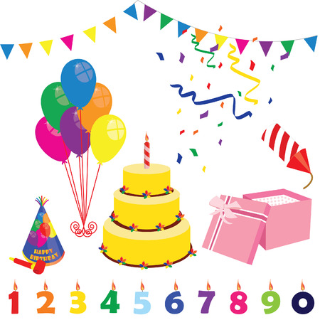 petard: Birthday party elements- birthday hat, cake, candles, balloons, gift box and petard. Surprise party. Party and celebration Illustration