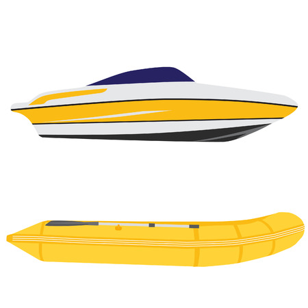 boat: Illustration of luxury yacht and yellow rubber boat, inflatable boat vector set
