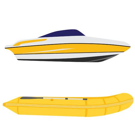 barche: Illustrazione di yacht di lusso e barca di gomma gialla, vettore set gommone