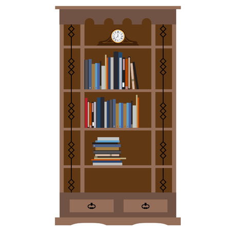 book case: Wooden bookcase with books on shelf and old clock vector illustration. Home library, bookstore. Learning and knowledge Illustration