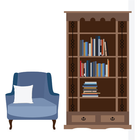 white pillow: Reading room with blue armchair and white pillow, bookcase with books vector illustration. I love reading. Study room.