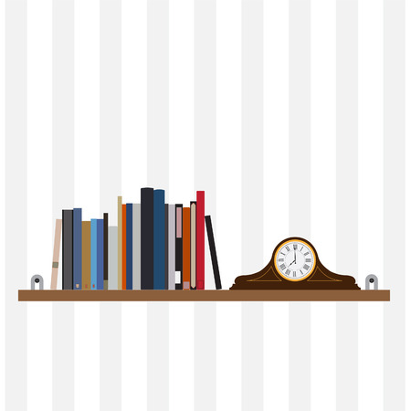 handbooks: Book shelf vector isolated with bibliography, encyclopedia, handbooks and old table clock. Literature bookstore