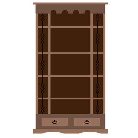 bookcase: Wooden empty bookcase vector illustration. Home library, bookstore. Learning and knowledge Illustration