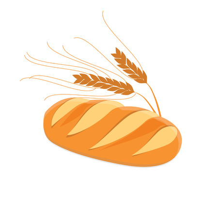 wheat bread: Loaf of bread and ears of wheat vector illustration. White, tasty bread. Fresh bread