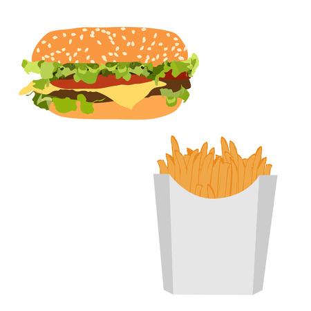 unhealthy: Hamburguesa y papas fritas ilustraci�n vectorial de comida r�pida. Hamburguesa y patatas fritas. Hamburguesa con queso. Comida chatarra Vectores