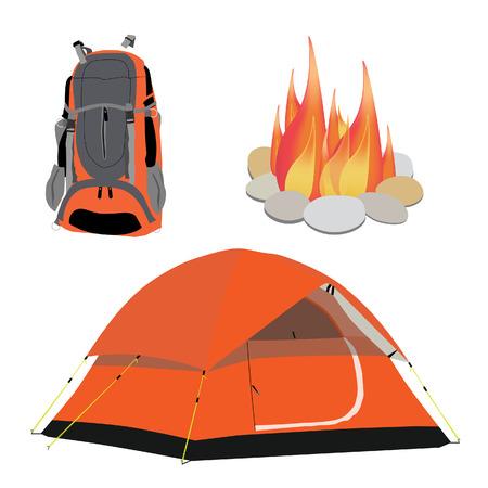 mochila de viaje: Equipo de camping tienda de campaña naranja, fogata con piedras, ilustración de viaje mochila vectorial. Cabañas icono de engranaje conjunto