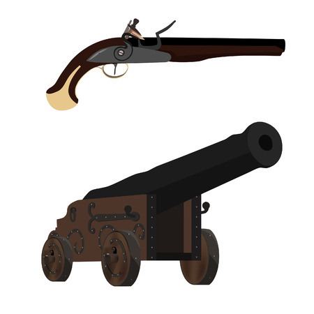 flintlock pistol: Medieval musket and old cannon artillery weapon vector illustration