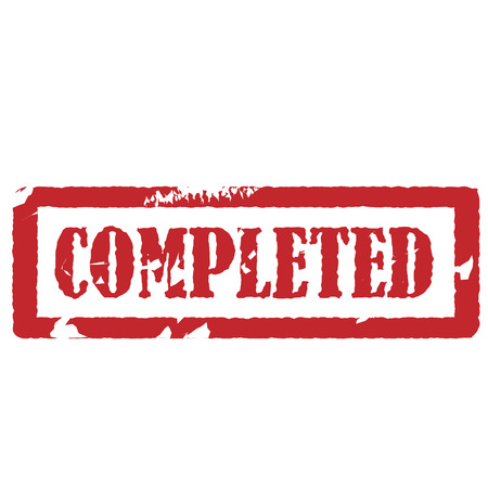 conclude: Red rubber stamp completed vector illustration, completed sign Illustration